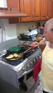 My Tía Irene making quesadillas.